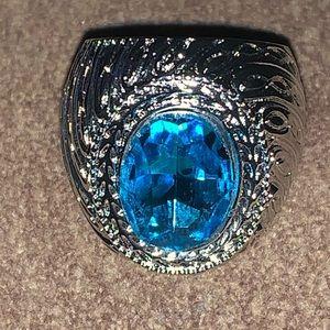 Sterling aqua designer ring DY